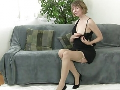 aged hoe unclothing down & masturbate