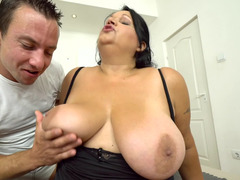 Nasty BBW eats his ass and sucks on his throbbing cock