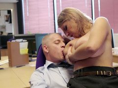 Blonde gets her bra buddies fucked in the office during office hours