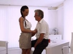 OLD4K. Charming brunette successfully seduced her middle-aged boss