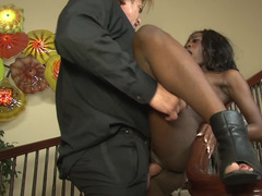 Ebony maid has to follow absolutely all the instruction of white man