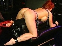 Leather lez redhead female domination disciplining