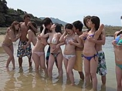 Oceanside Japanese group intercourse