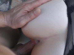 Blonde in stockings is in a point of view film, moving her hand over a fuck pole