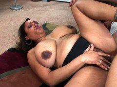 Slightly fat mom Kira opens her hirsute bush to a big love pole