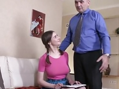 Tricky Grown-up Teacher - Busty brunette cutie