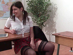 Sexy french arab schoolgirl booty porked in threeway by her classmates