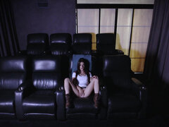 Lacey Channing sucks and fucks her uncle in his home movie theater