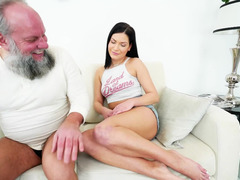 A raven haired babe is with an mature lad, getting cum blast by him