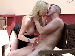 Hot Blonde Takes Two Cocks Down For Some Deep Throating