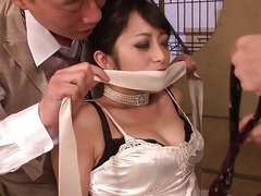 Classy Asian beauty gets dominated with anal fuck by two brutal men