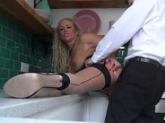 Roughly assfucked English wench getting fed with mistress jizz