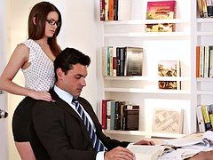 Good-looking secretary with glasses asks a huge salary
