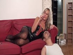 Nylon Females use slaves as ashtray