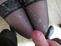 spunk on her nylon legs