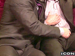 Dirk Caber and Adam Russo ramming each other rigid on the sofa