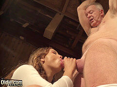 elderly guy tied up and fucked by nubile