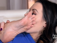 Pink and Blue: Toe Sucking Lesbians Enjoy Double Dong