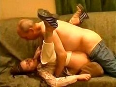 Nasty bald old guy is mauling innocent pretty babe with such eagerness