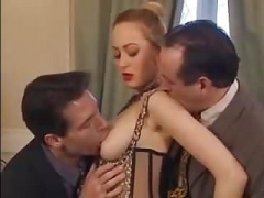Vintage French Lou Valmont Saggy Boobs DP Backdoor Stockings
