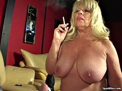 Huge titted smoking granny gives blowjob hard flag pole