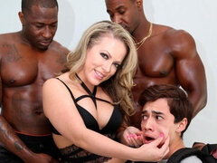 Stunning white model Carmen Valentina fucked by two big black guys