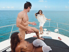 Black chick with big butt getting boned in white stockings on the yacht
