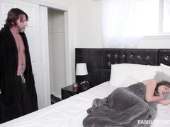 Busty stepdaughter gets on her knees to blow stepdad's dick before fuck