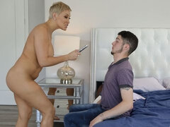 Awesome short-haired busty mom Ryan Keely fucks with a young man