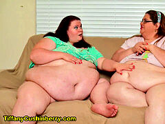 Fat Feedee Eats saucy treats While SSBBW girlfriend Rubs Her Growing Belly