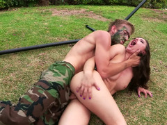 Handsome army fella gets down and dirty a brunette floozy right in her asshole