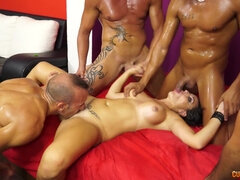 Brutal gangbang with super busty and horny brunette slut - cumshots