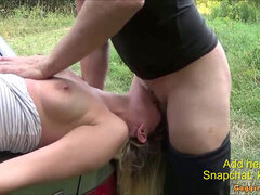 brutal Gag Facefuck and blow Outdoor after champagne