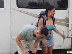 New Latina stepsister takes bro's dick during road trip