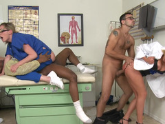 Dirty nurses have group intercourse with doctor and patient