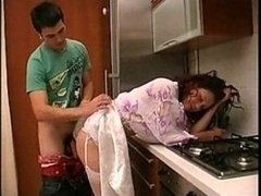 Beautiful Russian Mother In Stockings Kitchen Fucked..