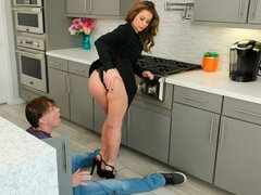Adorable hottie in high heels Emily Addison fucked in the kitchen