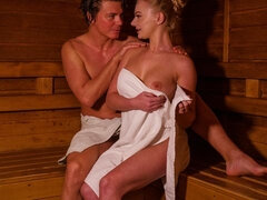 Blonde minx in sexy sauna seduction
