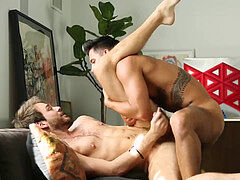 Ricky Roman & Max Adonis enjoy a bareback, moist afternoon ravage