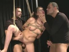 Kilted sub beauty punished by a pair of doms