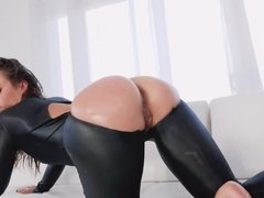 Kelsi Monroe takes it up the ass in her leather outfit