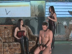 Chained slave burn with cigarette & shoes humiliated by 2 mistress