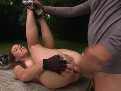 Gal takes a dick in her tight ass at the picnic in the forest
