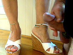jizz flow fountain over wife toes high heels mules sandals
