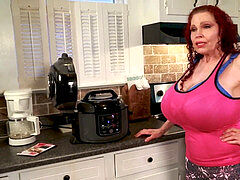 scorching Youtuber with yam-sized breasts Teddi Barrett in the kitchen