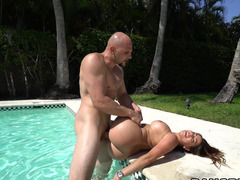 Pool getting down and dirty with a first-clbooty booty Latina dame that loves big dick