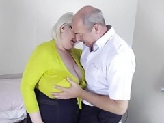 Lucky fella massaging Sally's big tits