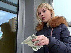 Public Agent scorching blondes gets a mouthhole of jizz after fucking for cash
