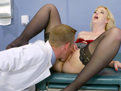 Blonde with tiny jugs is being licked by her doctor today