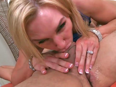 Tanya Tate blowing off large prick and additionally riding on it like champion